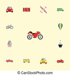 Flat Icons Boat, Carriage, Bicycle And Other Vector...