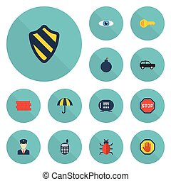 Flat Icons Armored Car, Parasol, Safe And Other Vector...