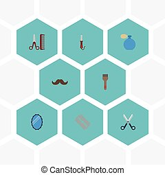 Flat Icons Hairdresser, Shears, Deodorant And Other Vector Elements. Set Of Shop Flat Icons Symbols Also Includes Hairstylist, Curling, Moustache Objects.