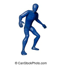 Wireframe human figure caught and about to flee - Futuristic...