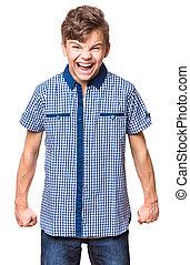 Ternn boy portrait - Emotional portrait of irritated...