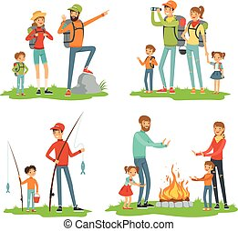 Happy family hiking. Travelling children with their parents. Illustrations of camping and road trip