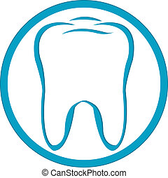 Logo Tooth - Stylized Tooth In Circle, Isolated On White...
