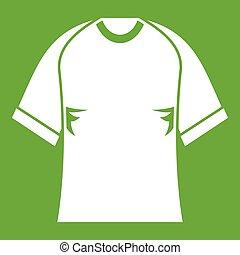 Raglan tshirt icon green - Raglan tshirt icon white isolated...