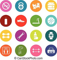 Gym icons many colors set
