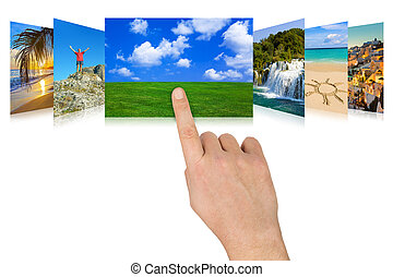 Hand scrolling nature and travel photography