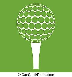 Golf ball on a tee icon green