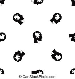 Head with puzzle pattern seamless black - Head with puzzle...