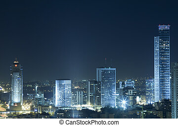 Ramat Gan Skyline at Night - View on Ramat Gan at night