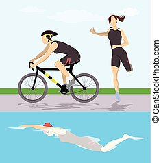 Triathlon race illustration.