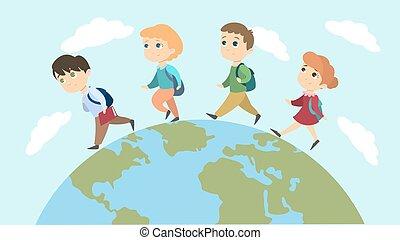 School children walk.