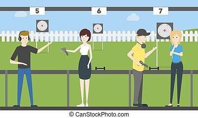 People at shooting range.