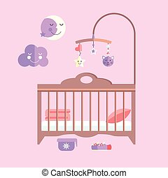 Vector flat baby bed. Infant bedroom with mobile
