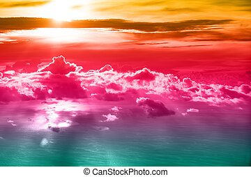 Beautiful blue sky background with sunset
