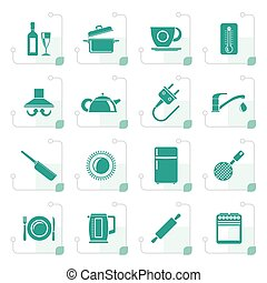 Stylized kitchen objects and accessories icons