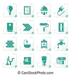 Stylized Construction and home renovation icons - vector...