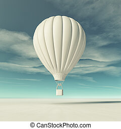 White hot air balloon flying. This is a 3d render...