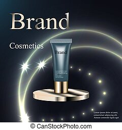 The design of cosmetics, skin cream, lotion, gel, blue and gold on a circular base silver on a dark background with patches and stars. Advertising, banner, beauty, promotion, realistic 3D vector