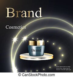 Design cosmetics, cream, blue and gold on a circular base silver on a dark background with patches and stars. Advertising, banner, beauty, promotion, realistic 3D vector, EPS 10