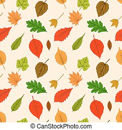 Seamless pattern with autumn outline leaves of different trees on a yellow background. Leaf Flat design Vector