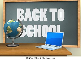 3d computer - 3d illustration of chalkboard with back to...