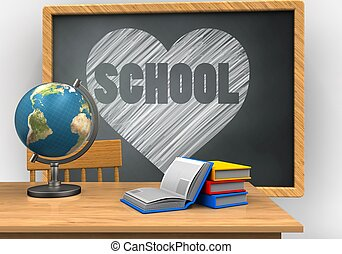 3d heart and school - 3d illustration of grey chalkboard...