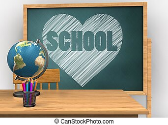 3d globe - 3d illustration of board with heart and school...