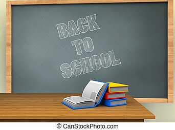3d back to school - 3d illustration of chalkboard with back...