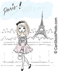 Cute girl in Paris.