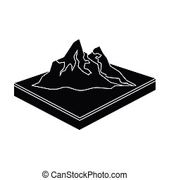 Mountains, rocks and landscape. Relief and mountains single...