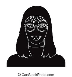 The girl's face is wearing glasses. Face and appearance single icon in black style vector symbol stock illustration web.