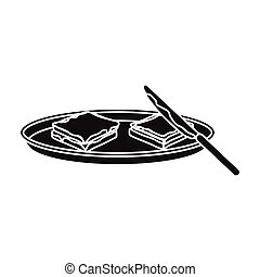 Tasty food, a sandwich with chocolate.Food single icon in black style vector symbol stock illustration web.