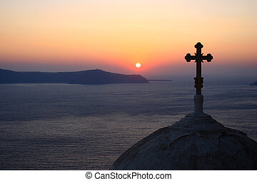 Church view over sunset - Sight from the top of a church at...