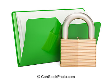 Green computer folder icon with padlock, 3D rendering