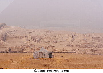Great pyramids - Famous Sphinx and the great pyramids in fog...
