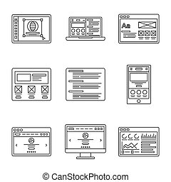 Web development and wireframes line icons set. Collection of...