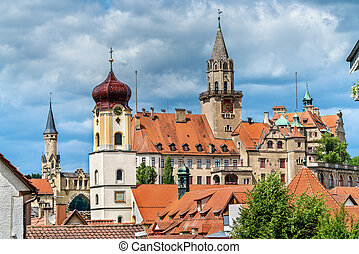 View of St. Johann Church and the Castle in Sigmaringen -...