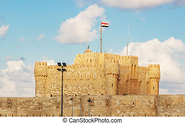 Alexandria Historical View of Qaetbay Castle Under Cloudy...