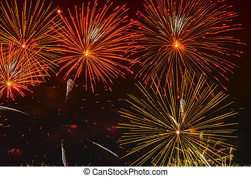 Bright golden glowing spheres and flickering stars, fireworks. Elegant background. New Year, Independence Day, all festive occasions, beautiful festive background