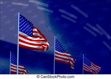 American flag, wave, line of flags