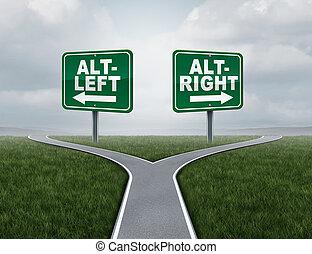 Alt Left and altright concept - Alt right or altleft concept...