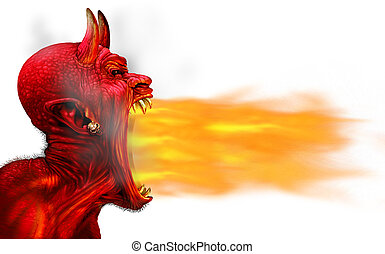 Demon Fire Flame - Demon fire flame on a white background as...