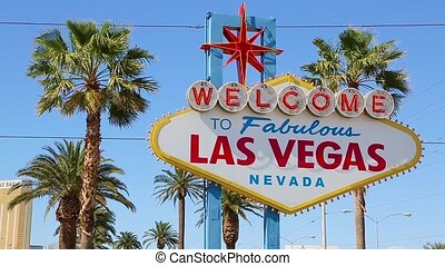 Welcome to Las Vegas sign on a bright sunny day - Welcome to...