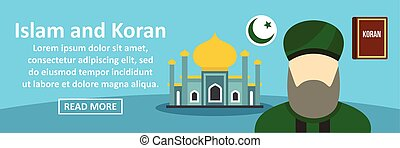Islam and koran banner horizontal concept. Flat illustration...