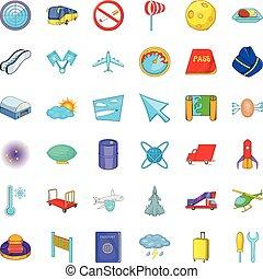 Airplane icons set, cartoon style