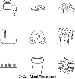 Different water form icon set, outline style - Different...