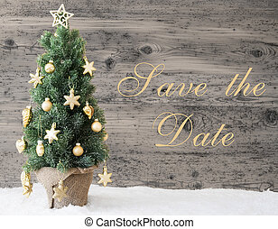 Golden Decorated Christmas Tree, Text Save The Date -...