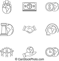Global finance icon set, outline style - Global finance icon...