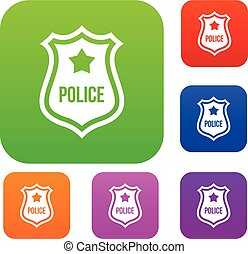 Police badge set collection