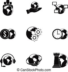 Global comunity icon set, simple style - Global comunity...